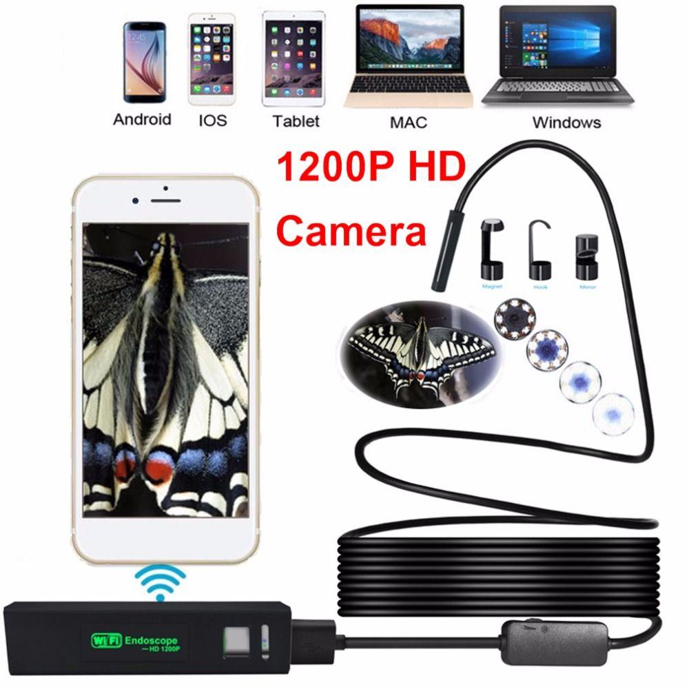 8LED 3,5 Mt Weich Hart Flexible Schlange USB WIFI Android IOS Endoskop Kamera 1200 P HD 8mm IP68 Wasserdicht Rohrleitungsinspektionen Kamera