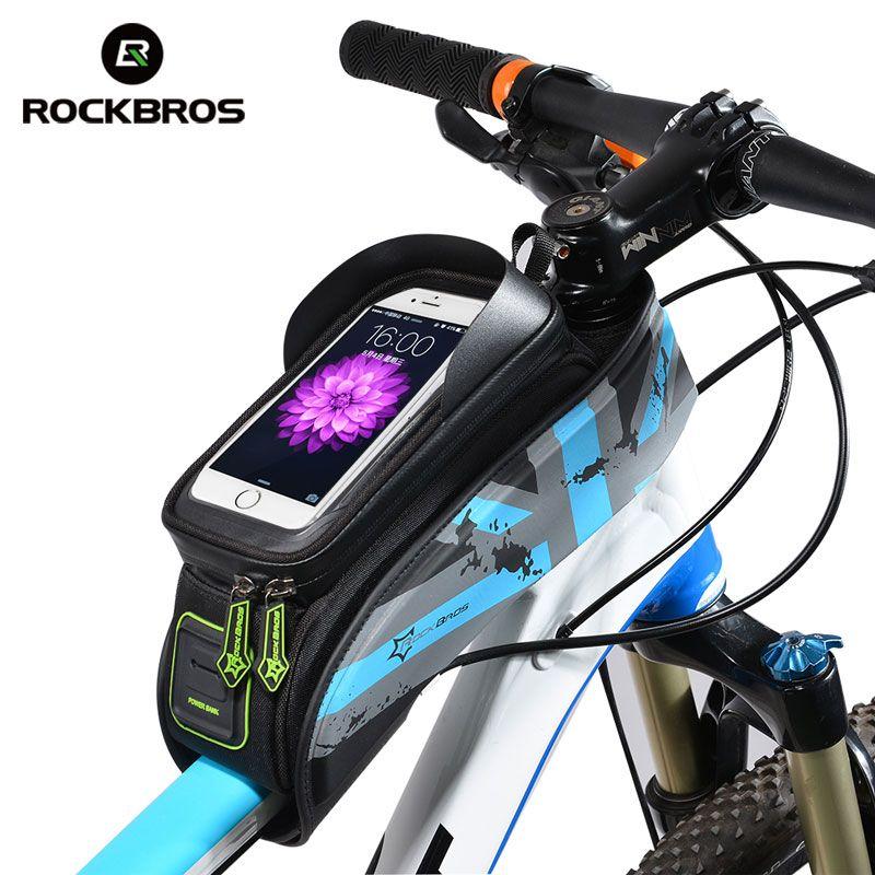 ROCKBROS vtt sacs de vélo de route étanche à la pluie écran tactile cyclisme Top avant Tube cadre sacs 5.8/6.0 coque de téléphone accessoires de vélo
