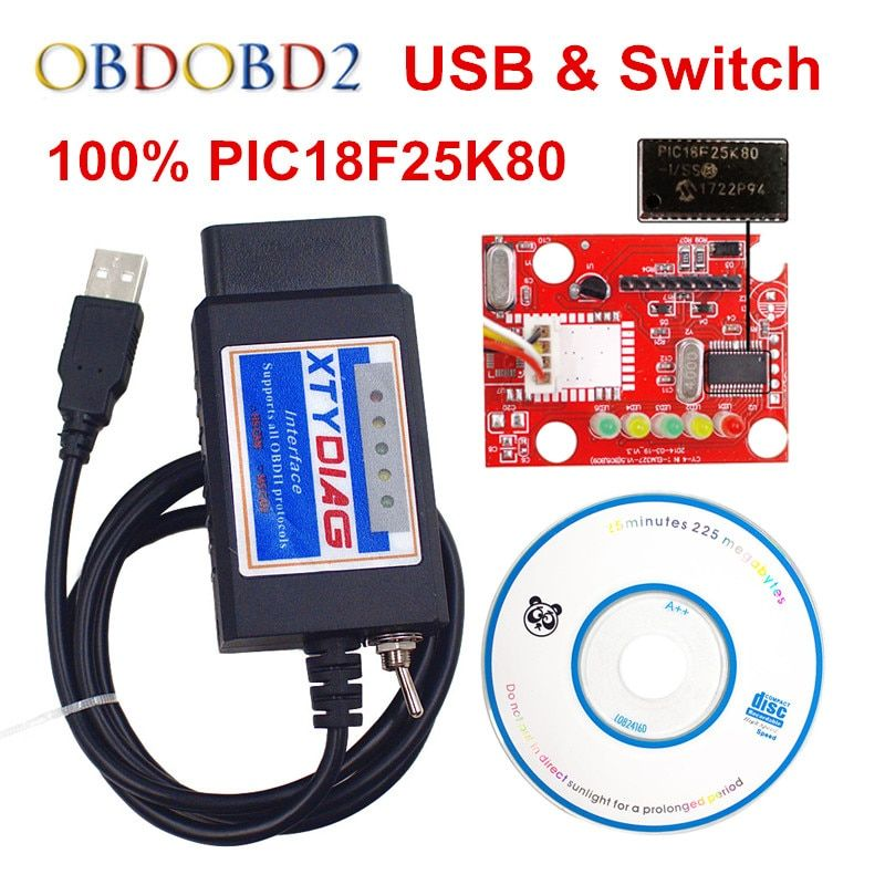 100% PIC18F25K80 <font><b>Chip</b></font> ELM327 V1.5 USB Switch ELM 327 For Ford HS CAN /MS CAN For Forscan OBD2 Diagnostic Scanner Free Shipping