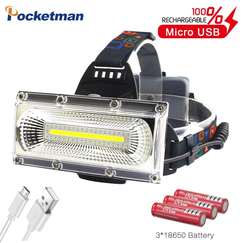 60000lm Power COB LED Scheinwerfer USB Aufladbare Kopf Lampe weiß & rot & blau licht 3-Modus Scheinwerfer Wasserdicht jagd Beleuchtung