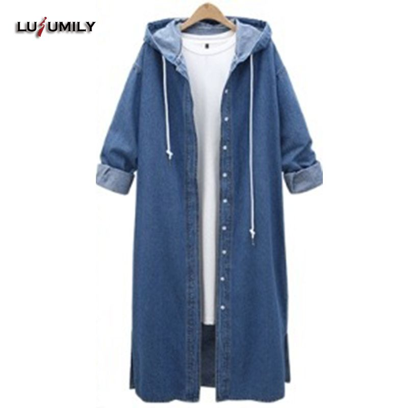 Lusumily Denim <font><b>Trench</b></font> Coat For Women Plus Size L-4xl Hooded Slim Female Coat Side Vents Long <font><b>Trench</b></font> Windbreaker Outerwear