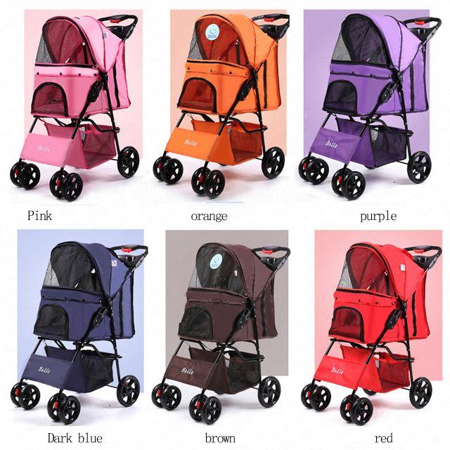 Vier Rad Oxford Haustier Kinderwagen, für Katze, Hund und Mehr, Faltbare Träger Spaziergang Warenkorb, mehrere Farben (Schwarz Rosa Rot)