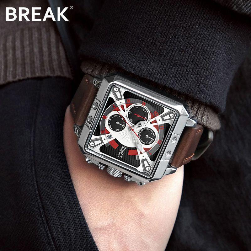 Break Men's Chronograph Watch Men Waterproof Leather Rectangle Quartz Wrist Wristwatch Male Clock Relogio Masculino Fashion