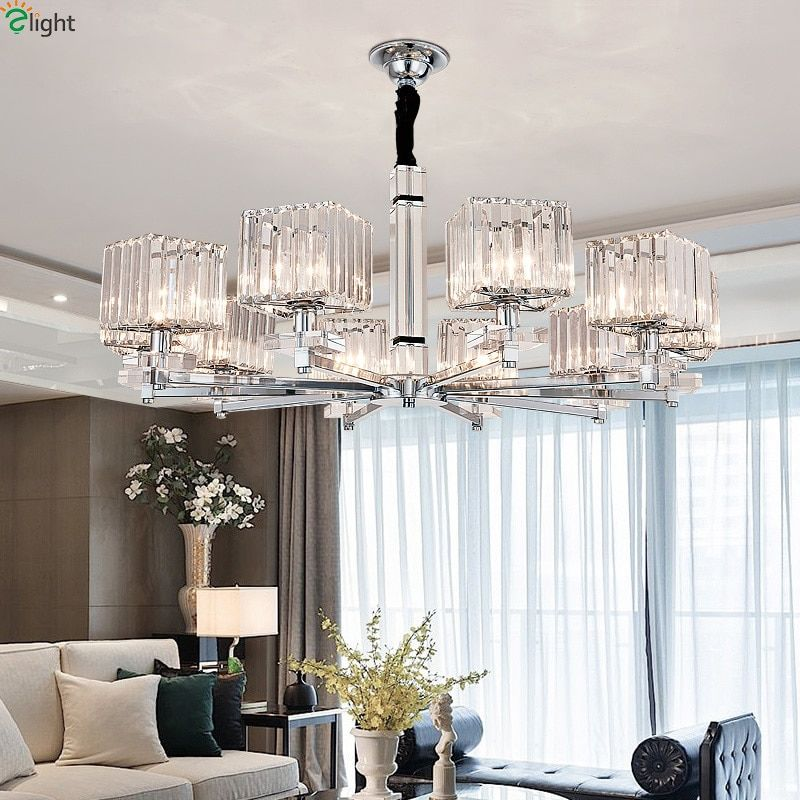Modern Led Chandeliers Lighting Chrome Metal Living Room Led Pendant Chandelier Lights Glass Dining Room Hanging Light Fixtures