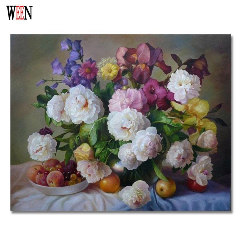 WEEN fleur photos par numéros sur toile bricolage numérique peinture à l'huile mur Arts coloriage par numéro décoration de la maison 40x50 cm cadeau