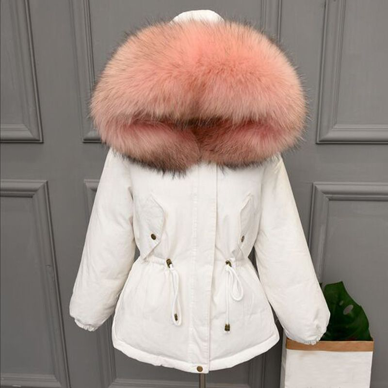 Thicken Warm Winter Coat Women Oversize 2018 Large Real Natural Fur White Duck Down Parka Hooded Outerwear Winter Jacket Women