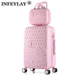 Caliente 2 unids/set 14 pulgadas bolsa de cosméticos Hello Kitty 22 28 pulgadas chica trolley ABS + PC estudiantes viajes mujer de equipaje maleta