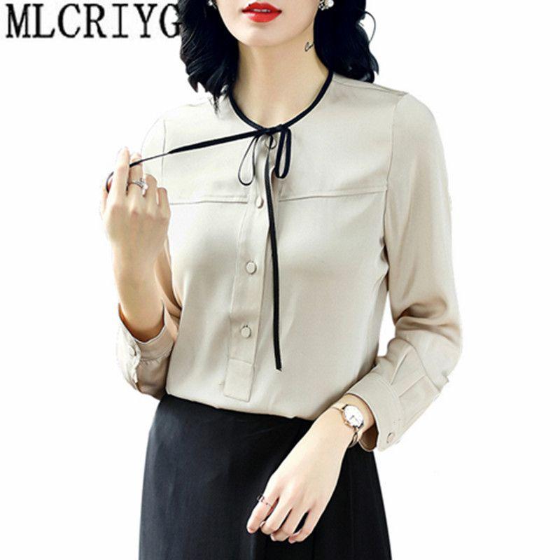 Women's Fashion Blouses 100% Silk Long Sleeve Blouse Office Work Shirts Women 2018 Spring Summer Top camisa feminina YQ154