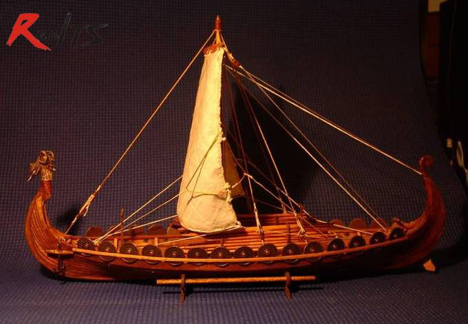RealTS Classic wooden scale sailing boat wood scale <font><b>ship</b></font> 1/50 Viking <font><b>ships</b></font> scale assembly model <font><b>ship</b></font> building kit scale boat