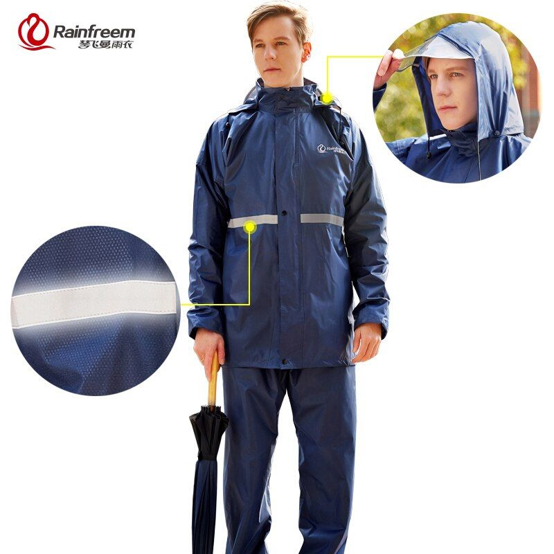 Rainfreem Raincoat Suit Impermeable Women/Men Hooded Motorcycle Poncho Motorcycle Rainwear S-6XL <font><b>Hiking</b></font> Fishing Rain Gear