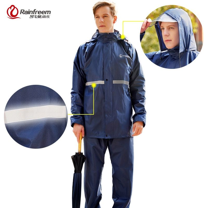 Rainfreem Raincoat Suit Impermeable Women/Men Hooded <font><b>Motorcycle</b></font> Poncho <font><b>Motorcycle</b></font> Rainwear S-6XL Hiking Fishing Rain Gear