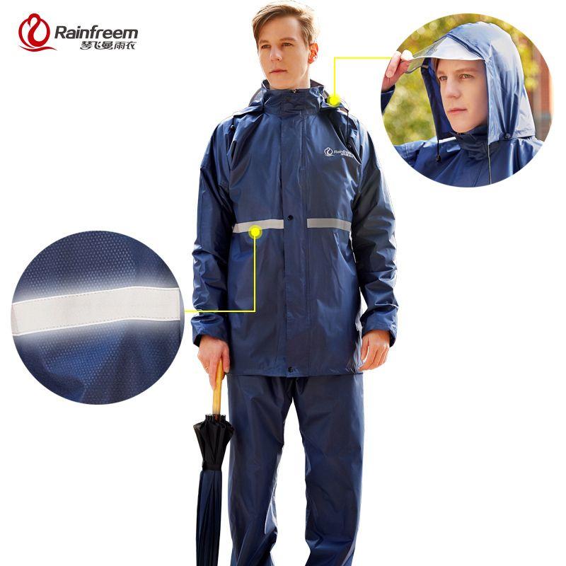 Rainfreem Raincoat <font><b>Suit</b></font> Impermeable Women/Men Hooded Motorcycle Poncho Motorcycle Rainwear S-6XL Hiking Fishing Rain Gear