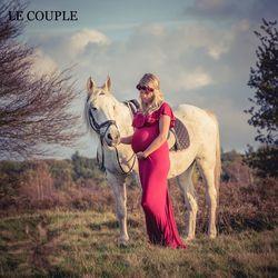 Le Couple De Maternité Robes Pour Séance Photo Slash Cou Extensible Coton Enceinte Robe Jersey La Grossesse Vêtements Grande Taille