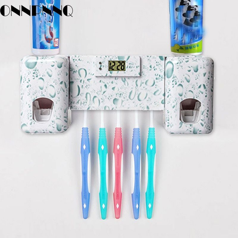 OnnPnnQ Bathroom accessories Clock Automatic Toothpaste Dispenser Toothbrush Holder with Combination Set Toothpaste Squeezer