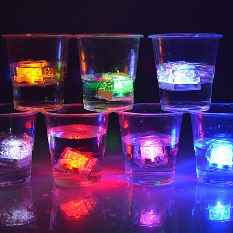 LED glaçons brillant fête boule Flash lumière lumineuse néon fête de mariage noël Bar vin verre décoration fournitures 12 pièces