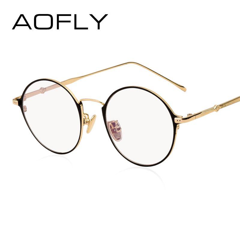 AOFLY Elegante Oval Plain Brillen Mode Frauen Marke Designer Metallrahmen Gläser Klare Linse Brillen Hochwertige AF9105