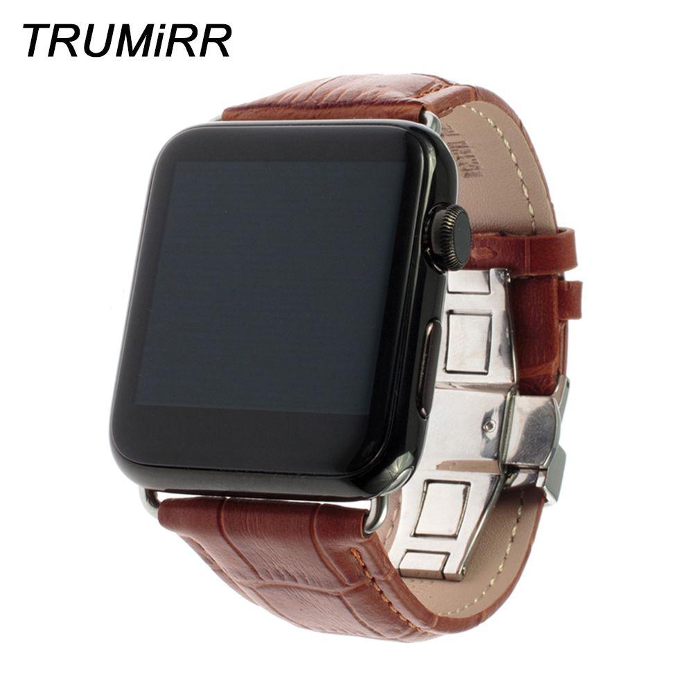 Veau Véritable Bracelet En Cuir pour Apple iWatch Montre 38mm 40mm 42mm 44mm Série 4 3 2 1 Croco Sport Band Papillon Fermoir Bracelet