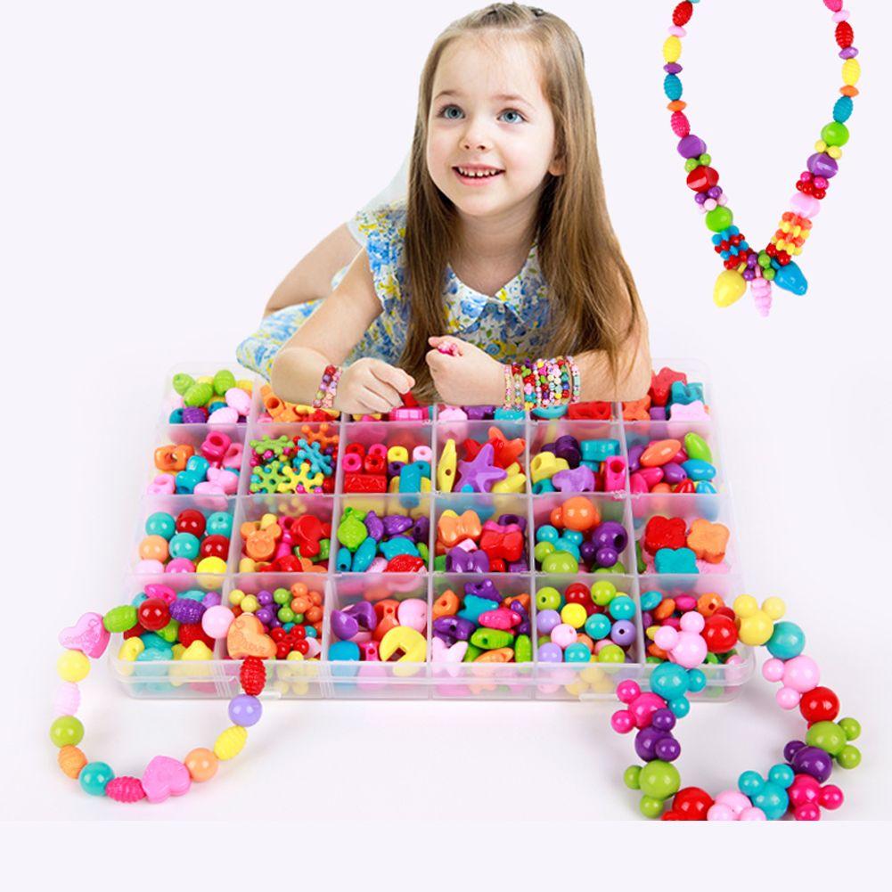Assortiment de perles en plastique acrylique Kit accessoires bricolage bracelets jouets fabrication de bijoux enfants perles ensemble enfants bricolage créatif porter des perles