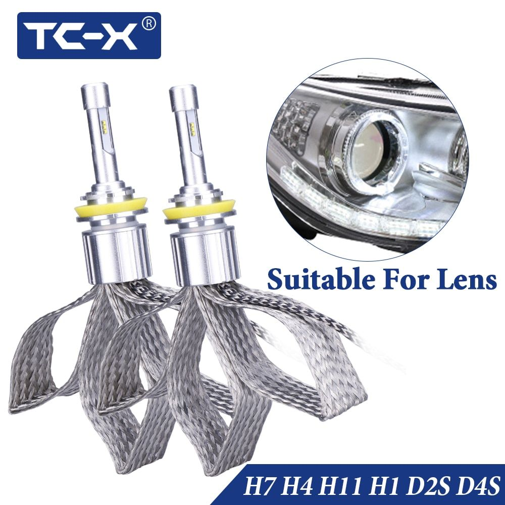 TC-X HB4 H7 H11 led lamp light H1 H3 Headlight for car 12v 9005 9006 D2S D4S diode lamps with Luxeon ZES chip bulb auto products