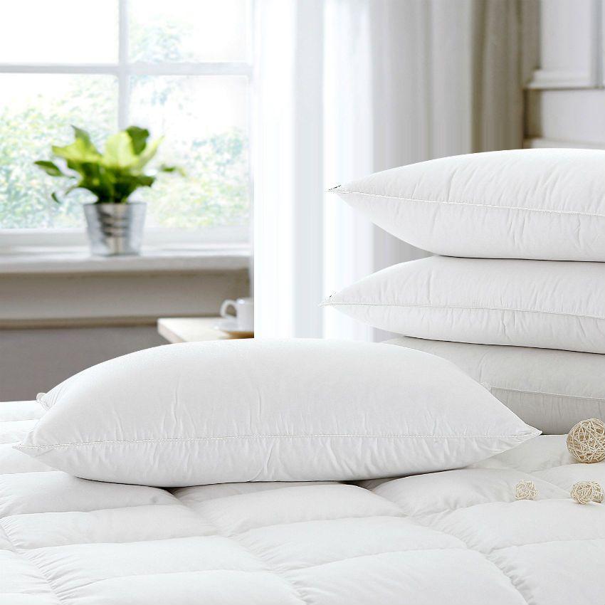 Peter Khanun Brand Design White Goose Feather Neck Health Care Sleeping Pillows 100% Cotton Shell Allow Feather To Breathe 012
