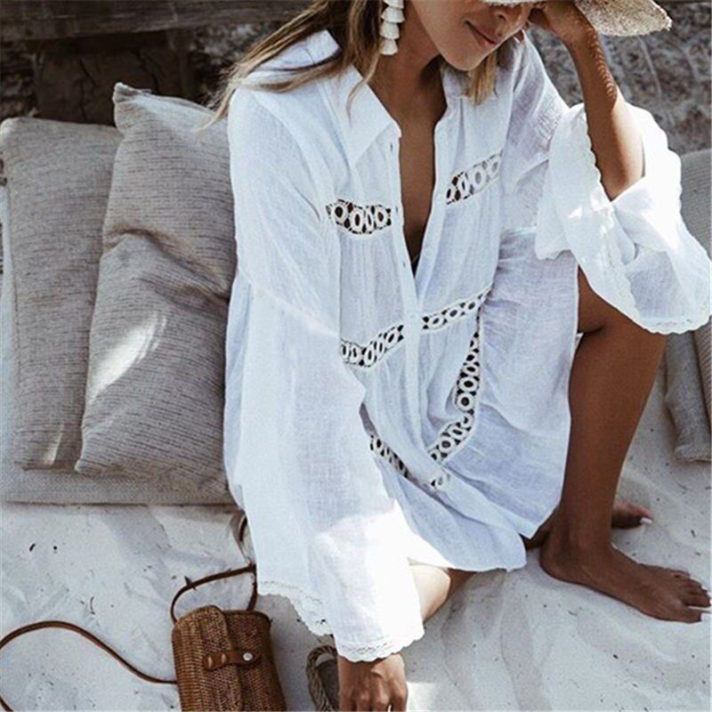 Bikini Cover Up Lace Hollow Crochet Swimsuit Beach Dress Women 2018 Summer Ladies Cover-Ups Bathing Suit Beach Wear Tunic