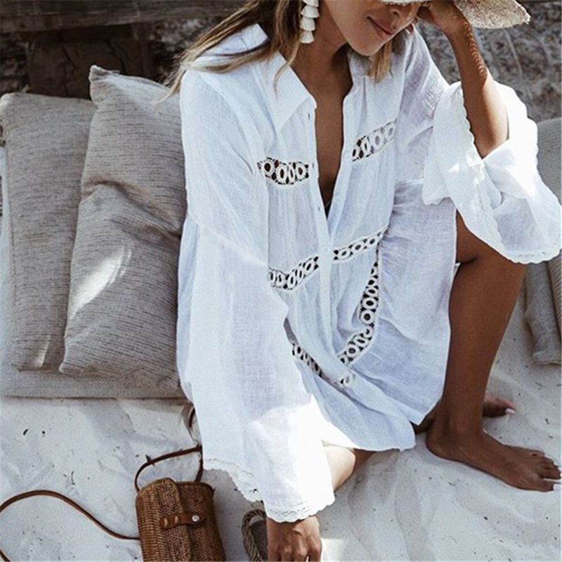 Bikini Cover Up Lace Hollow Crochet Swimsuit Beach Dress Women 2018 Summer Ladies Cover-Ups Bathing Suit Beach Wear Tunic