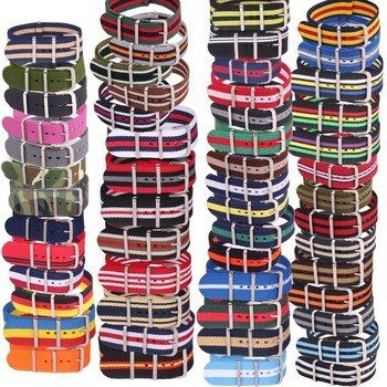 10pcs Wholesale Lot Stripe Retro  22 mm Strong Military Woven Army nato fabric Nylon Watch Strap Band Buckle 22mm watchband