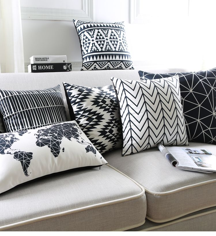 Black And White Cushion Covers Geometric Triangles Stripe World Map Pillow Cover Decorative Velvet Pillow Case For Sofa Seat