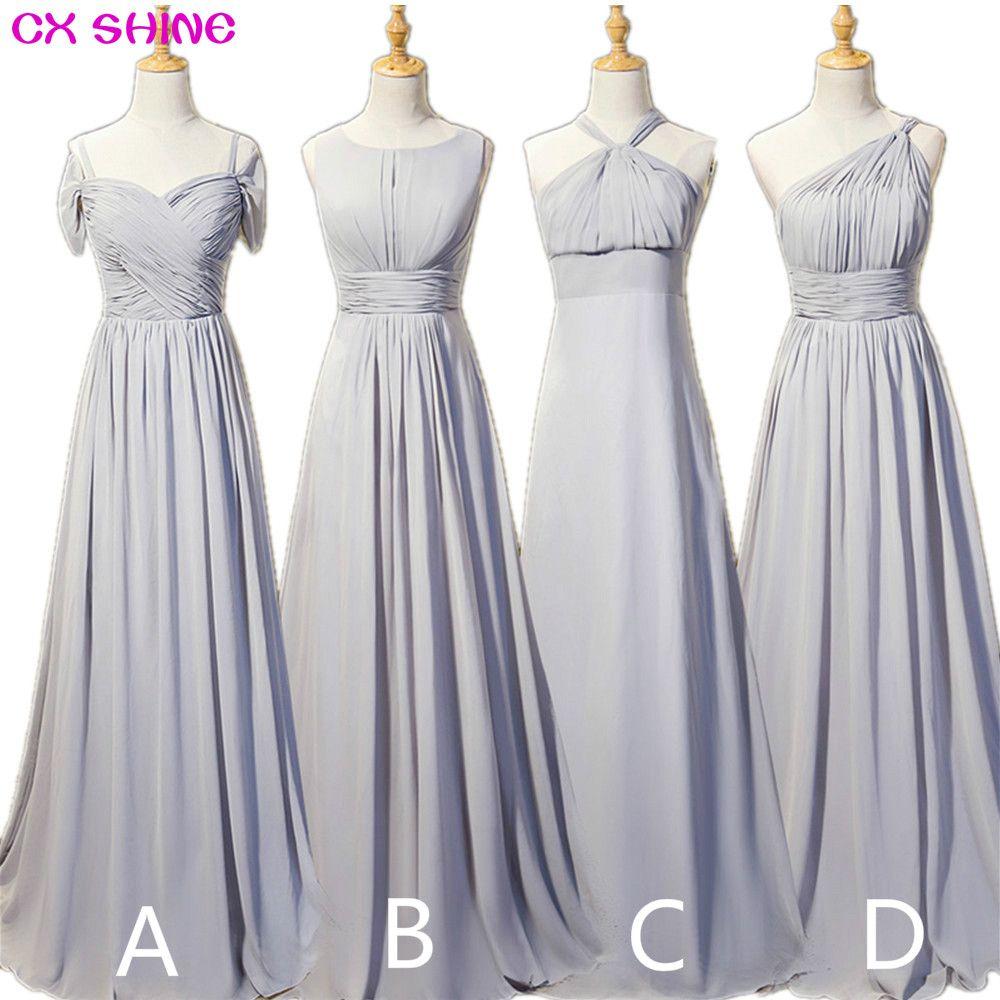 CX BRILLO Nuevo color Personalizado Gasa 4 estilo Gris largo Vestidos baratos de la boda de dama de honor Vestido de Fiesta vestido de fiesta más el tamaño Vestidos
