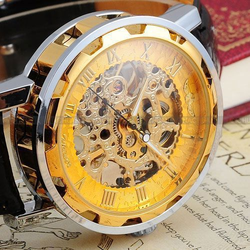 Vintage Luxury Relogio Skeleton Transparent Stainless Men Full Steel Watch Case Classic Gift Mechanical Hand Wind Watch
