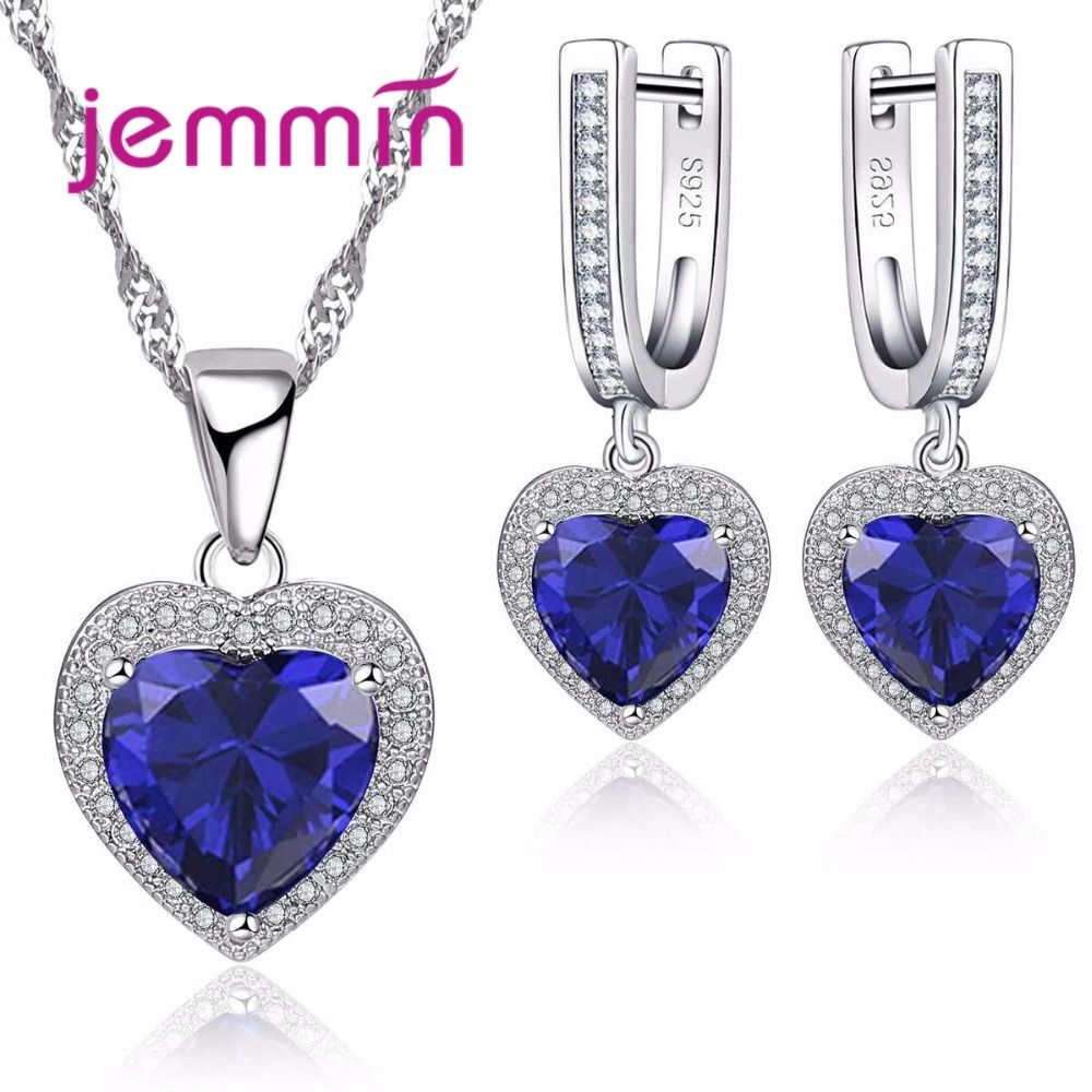 Jemmin Hot Sale Heart Shape Bule Crystal 925 Sterling Silver Necklace And Earrings Set For Women Female Party Engagement