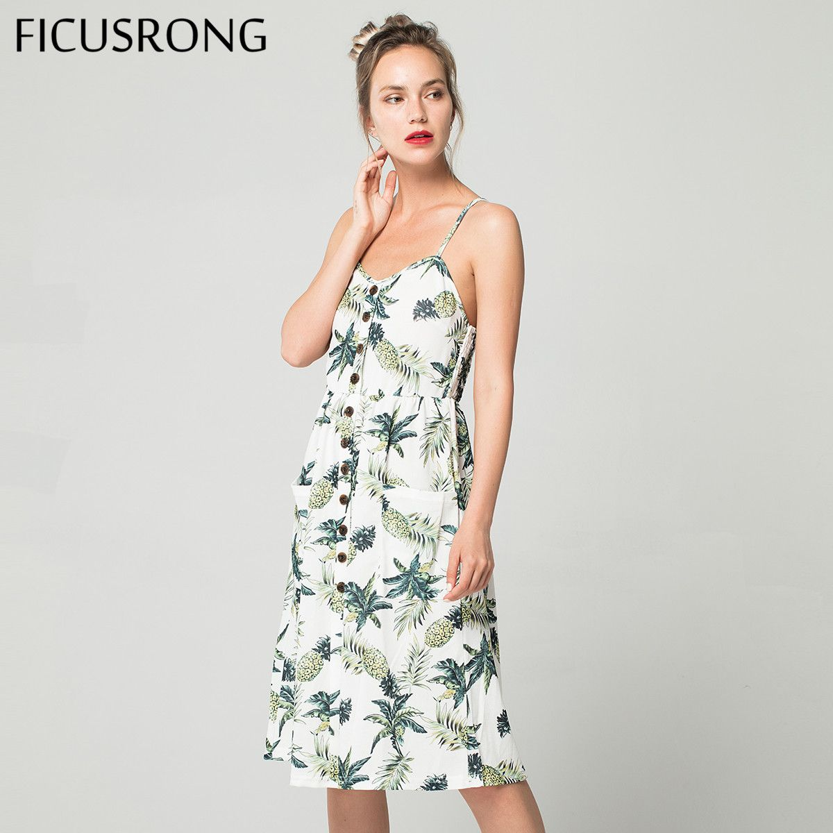 2019 Summer Women Button Decorated Print Dress Off-shoulder Party Beach Sundress Boho Spaghetti Long Dresses Plus Size FICUSRONG