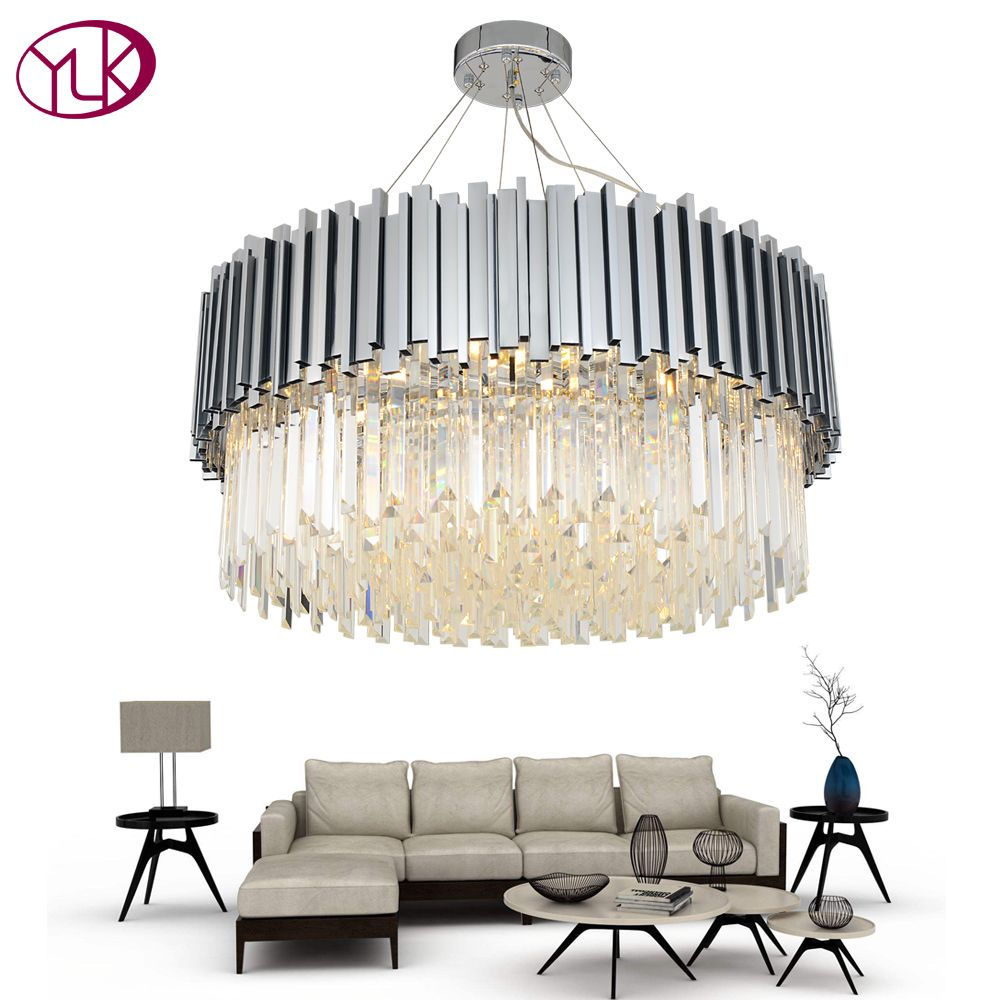 Youlaike New Modern Chandelier Lighting Chrome Polished Steel Crystal Lamp Luxury Round Living Dining Room LED Cristal Lustre