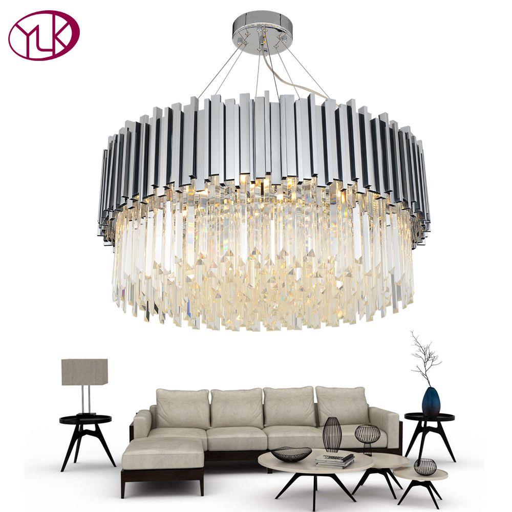 Youlaike New Modern Chandelier Lighting Chrome Polished Steel Crystal Lamp Luxury Round Living Dining Room LED Cristal Lustre