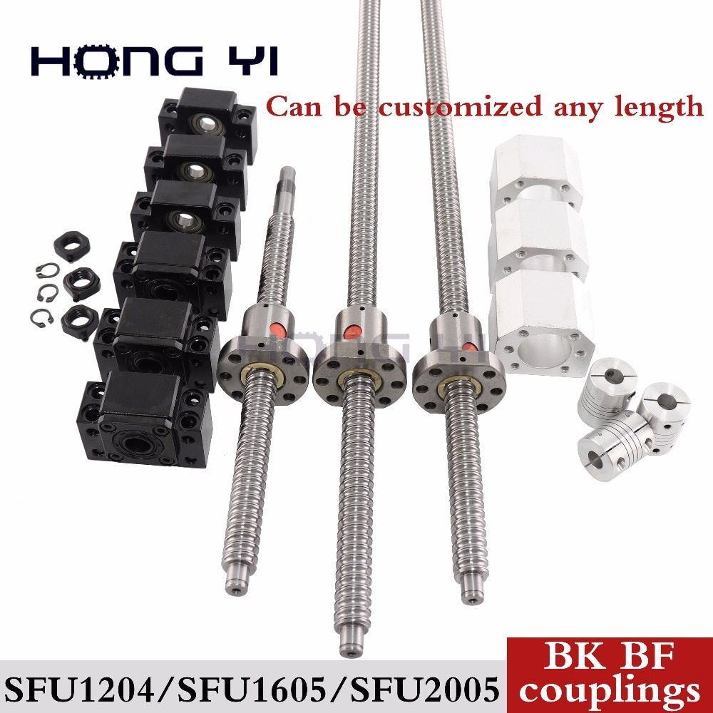 SFU1204ball screw 310mm SFU1605-1700mm RM2005-2200mm+3pcs ballnut and nut housing with  BK BF and couplings standard processing