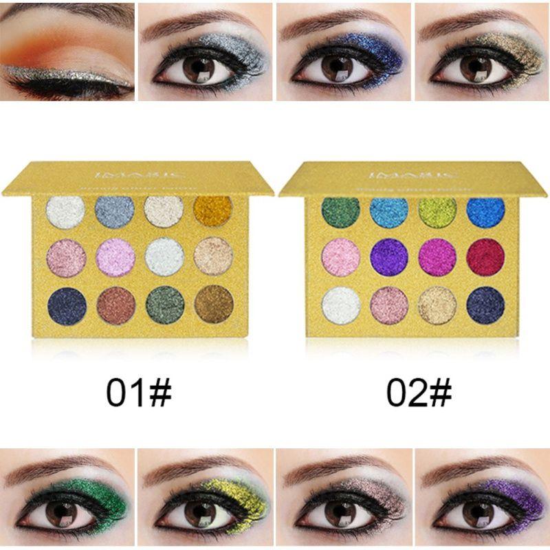 Profesional de larga duración shimmer eyeshadow Paletas 2017 nueva sombra de ojos del brillo Paletas brillo Polvos de maquillaje cosmética Paletas
