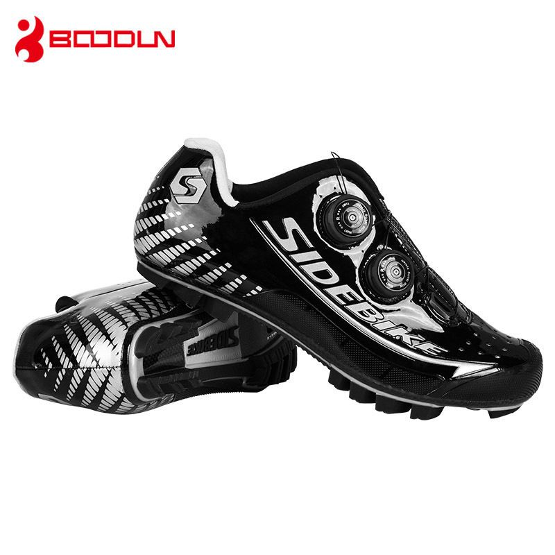 SIDEBIKE MTB Carbon Fiber Type Black Silver Waterproof Professional Men Athletics Mountain Bicycle Self-locking Training Shoes