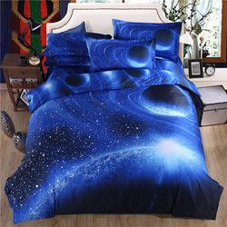 3D Langit Biru Bed Sheet Set Sarung Bantal Planet Polyester/Katun Duvet Cover Set Sprei Galaxy Bedding Set 3D selimut