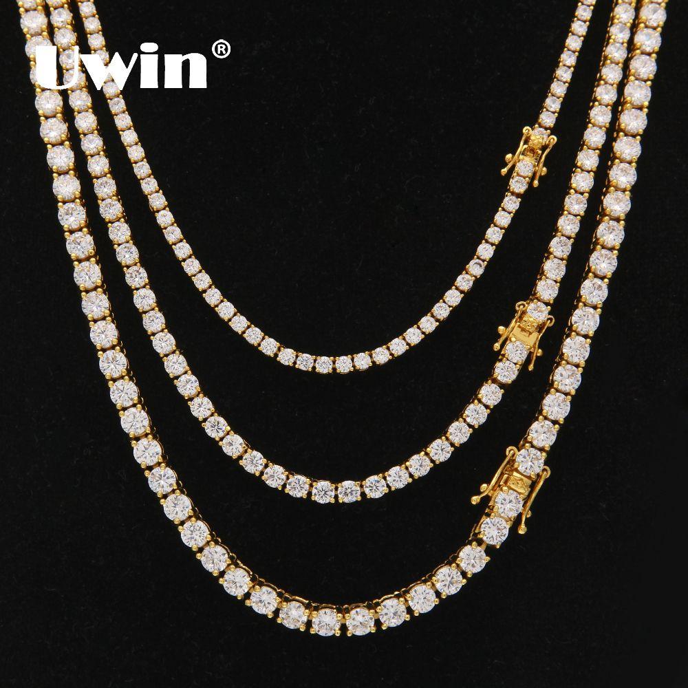 Uwin 3mm 4mm 5mm rond découpé glacé cubique zircone chaîne de lien de Tennis Hiphop Top qualité CZ boîte fermoir collier femmes hommes bijoux