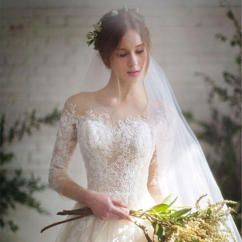 long half sleeve muslim lace wedding dress high quality 2017 bride simple bridal gown real photo wedding-dress vestido de noiva