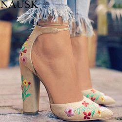NAUSK 2018 Suede Zapatos Mujer sandalia bordar mujeres del alto talón Sandalias flor étnica Floral partido Sandalias Zapatos Mujer