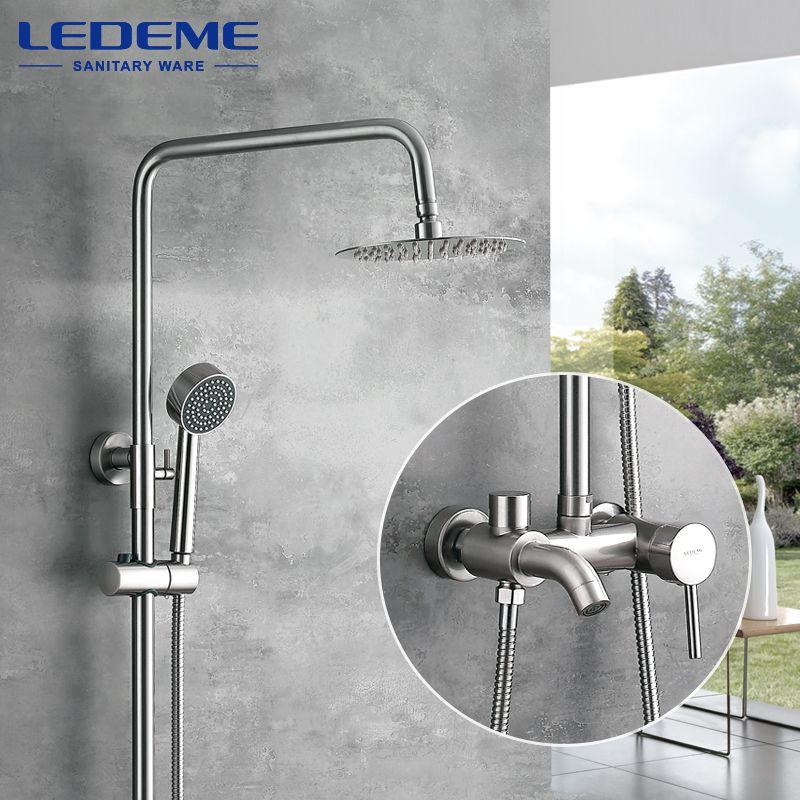 LEDEME Modern Square Brushed Rain Shower Faucet Head Faucets Hand Shower Set Sprayer Mixer Single Holder Dual Control L2452A