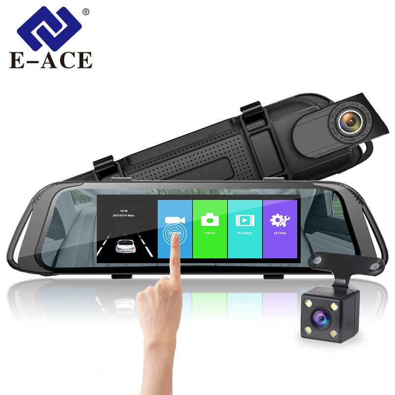 E-ACE Car DVR 7.0 Inch Touch Video Recorder Mirror Camera FHD 1080P Dual Lens with Rear View Camera Auto Registrator Dash Cam