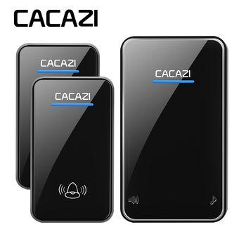 CACAZI wireless doorbell newest waterproof LED AC 100-240V EU/US/UK plug door bell 300M remote 48 rings 6 volume door chime