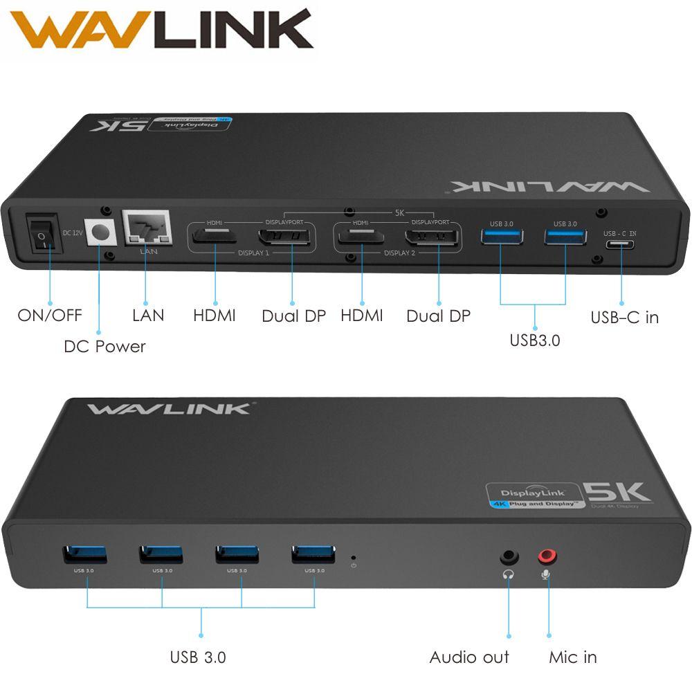 WAVLINK UNIVERSAL ULTRA 5 Karat DOCKING STATION USB-C DUAL ANZEIGE USB3.0 VIDEO AUDIO-AUSGANG UNTERSTÜTZUNG HDMI/DISPLAYPORT GIGABIT FÜR MAC