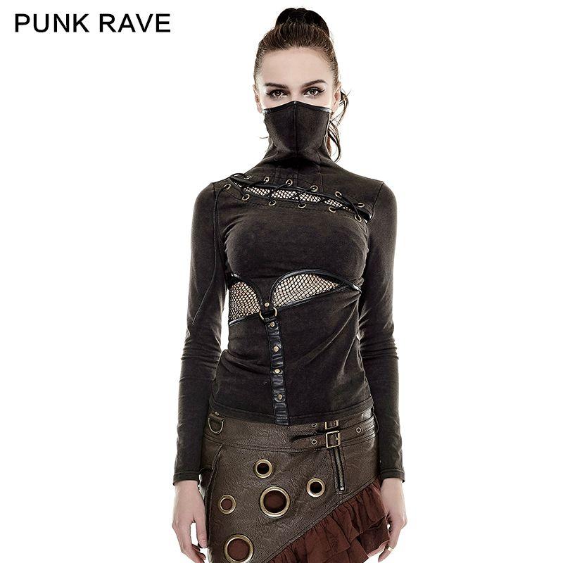 PUNK RAVE Steampunk High Collar Mask Woman T-shirts Stretch Knit Stitching Elastic Mesh Fabric Black Tops Punk Rock Tees Gothic