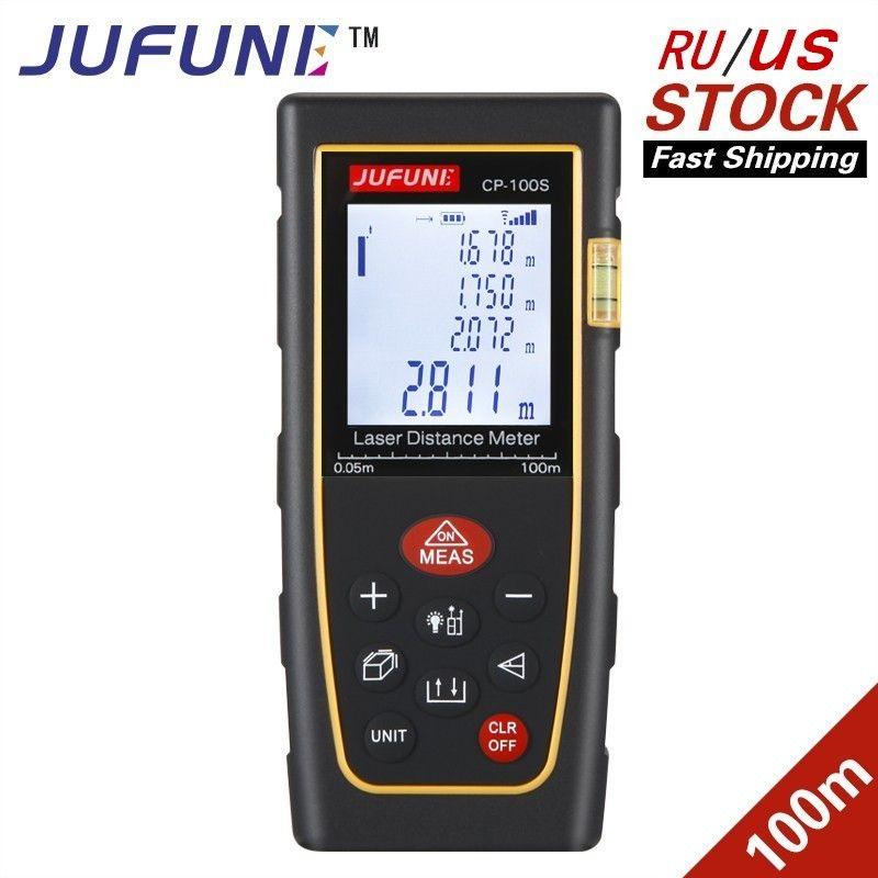 JUFUNE laser distance meter 40M 60M 80M 100M 120M rangefinder <font><b>trena</b></font> laser tape range finder build measure device ruler test tool