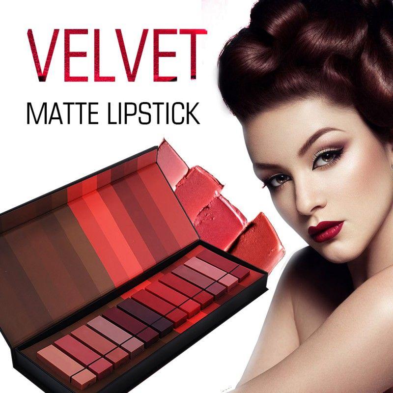12 pcs/set Matte Lipstick Velvet Lasting Moisturizing Cosmetics Lipstick Red Lips Makeup Lip Gloss Lip Kit Beauty Lipstick