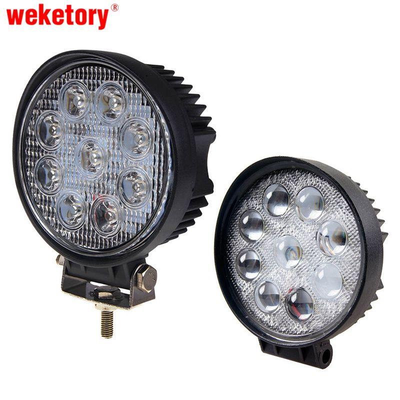 weketory 27W 4 inch LED Work Light Flood Driving Lamp for Car Truck Trailer SUV Offroads Boat 12V 24V 4WD