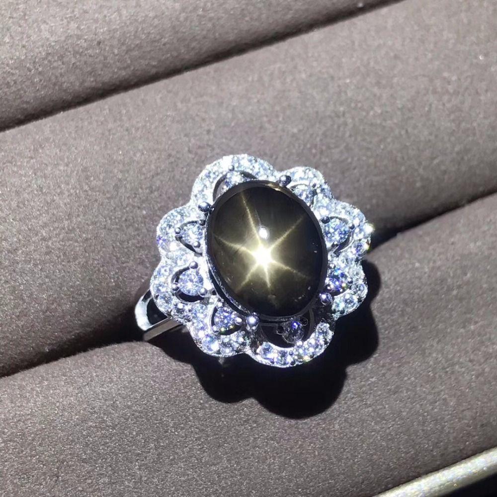 Natürlichen Saphir Ring, Star Sapphire, Zertifikat der Authentizität, 925 Silber Nach Größe, Edelstein 5 Karat